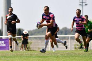 Photo de Jean-André Vernetti en pleine action lors d'un match de rugby à 7 organisé par Esprit sud Sevens, cette photo permet d'illustrer son témoignage qui donne la parole aux joueurs.