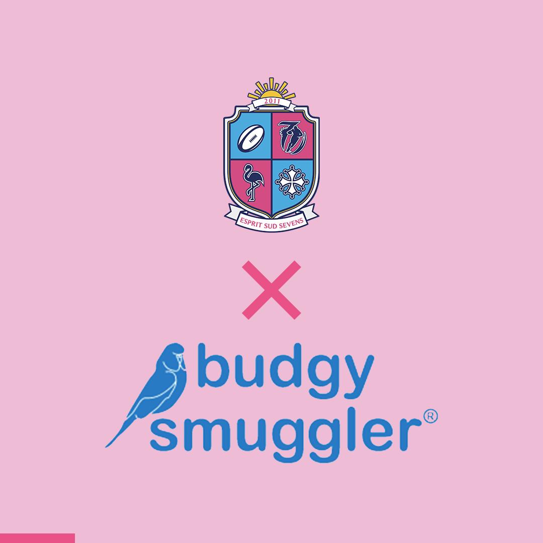 Logo Budgy Smuggler partenaire officiel d'Esprit Sud Sevens sur fond rose aux couleurs d'Esprit Sud Sevens, l'association de rugby à 7.