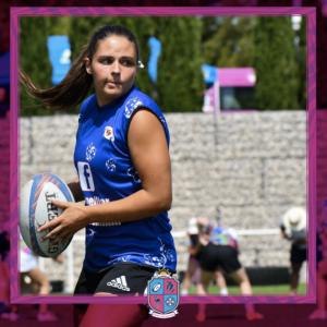 Image de Camille Selles, Joueuse à Esprit Sud Sevens, En pleine action lors d'un match de rugby à 7, pour illustrer son portrait