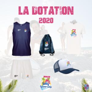 Dotation 2020 pour les adolescents participant au Sevens Summer Camp organisé par Esprit Sud Sevens. La dotation inclut, un sac, un kit joueur, une casquette et un t-shirt, à l'effigie du Sevens Summer Camp.